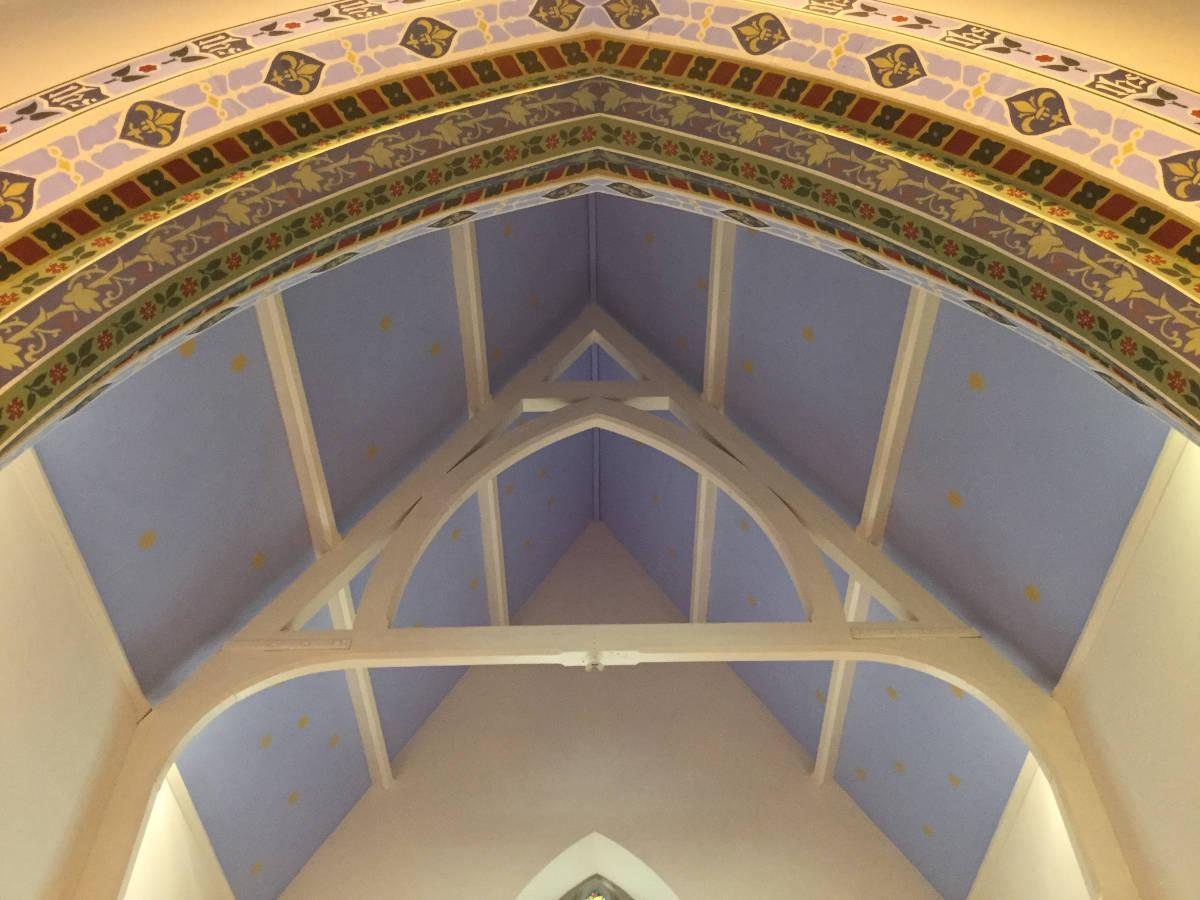 Image details: Extensive use of stencilling techniques on church arch & ceiling