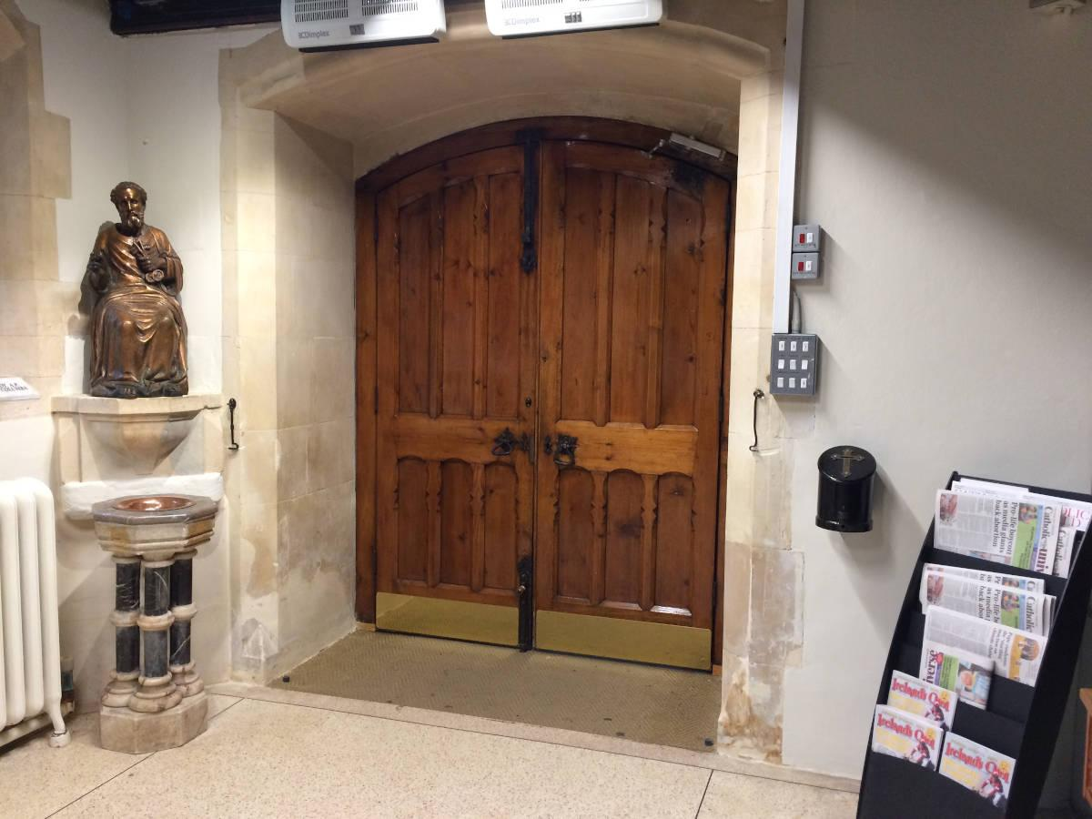 Image details: Mineral paints, masonry and lime plaster repairs - church lobby